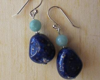 Amazonite Stone Earrings on Platinum Earwires