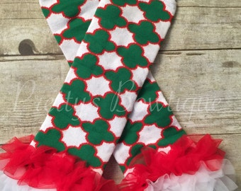 Baby Christmas Leg Warmers in Red, Green and White with Tulle Trim for Sizes 3 Months to 4 Years