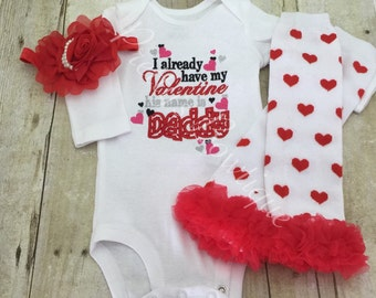 Valentine's outfit shirt, headband, and legwarmers I already have a Valentine his name is daddy