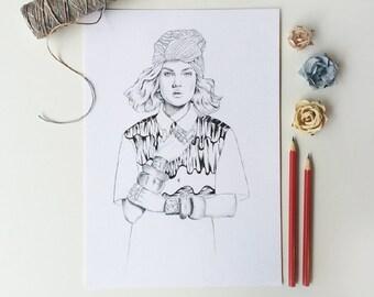 Original Pencil Drawing / Gypsy Fashion