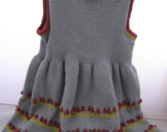 Blue cotton and angora hand knit dress with red flowers