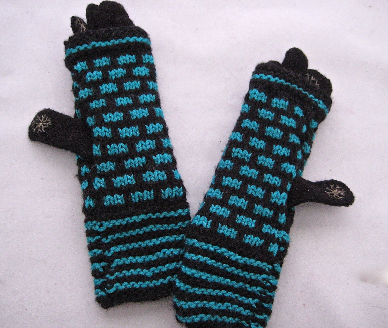 Knitting Patterns Merino Wool : Black and teal mosaic pattern merino wool hand knit fingerless