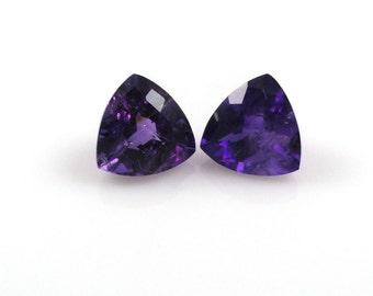 Natural Amethyst Trillion 10mm Excellent Deep Purple Color (2837)