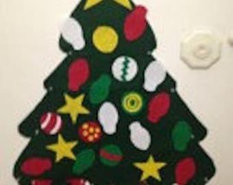 Felt Christmas tree and 5 ornaments