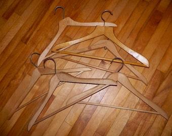 SALE Was 23.98 Now 15.00 Set of 6 Hardwood Vintage Wooden Suit Hangers