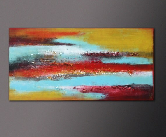 Acrylic Painting - Canvas Wall art - RED BLUE SKYLINE / On canvas / Original Hand Made / Abstract Painting / Modern Art