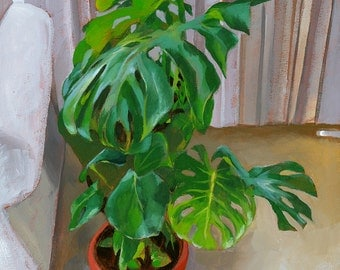 Monsteras, Plant Still Life, 14x19 Original Acrylic Painting on Canvas