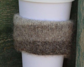 Knit Coffee Sleeve - Wool Knit and Felted - Ombré Reversible Coffee Sleeve