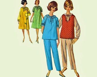 60s Pajamas Pattern Womens Nightgown Pattern Loungewear Pattern Long Pajamas House Dress 1960s Patterns Simplicity 5756 Bust 32 UNCUT