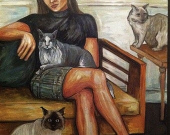 Susie and the cats 30x48