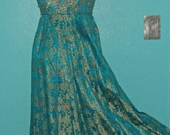 60s Vintage Glamorous Teal Brocade Sleeveless Evening Gown, Modern size 8 (?)