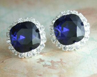Indigo crystal earrings,dark blue crystal earrings,swarovski dark indigo square crystal stud earrings,square stud earring,square,dark indigo