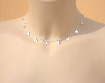 Stars Necklace  -Trendy Celebrity -Gold - or - Silver Necklace