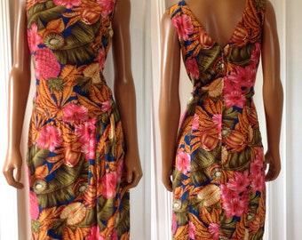 1990s Vtg Neiman Marcus Gillian Silk Faux Wrap Dress Sheath Tropical Resort Mini Size 8/M