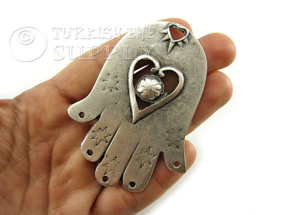 Large hamsa hand of fatima pendant with holes on the fingers large hamsa hand of fatima pendant with holes on the fingers antique silver plated hamsa pendant turkish jewelry from turkisheyesupply on etsy studio mozeypictures Image collections