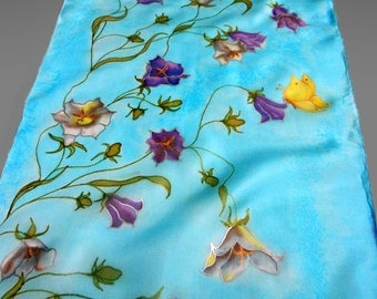 Hand painted silk scarf. Floral silk scarf. Light blue silk scarf. Turquoise silk scarf. Made to order.