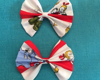 Dr. Seuss large hand made hair bow!!