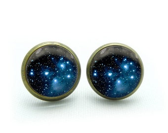 galaxy earrings nebula stud earrings space jewelry- with free jewelry box