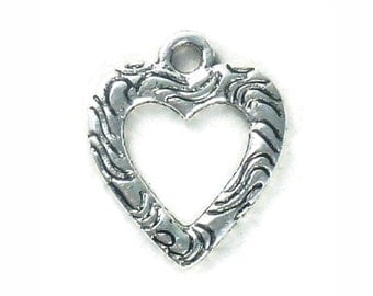 15 Small Ornate Silver Open Heart Charm Pendant 19x16mm by TIJC SP1006
