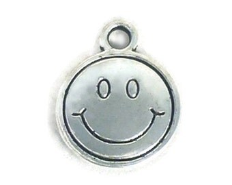 10 Silver Smiley Face Charm Pendant 15x12mm by TIJC SP0491
