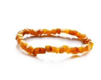 Honey Amber bracelet, Honey Beads Polished, Baltic amber bracelet, cute bracelet with small Beads, Amber bracelet for Teens, 18 cm, 1754