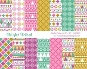 Bright Tribal Digital Paper - Aztec Inspired Tribal Digital Paper for Scrapbooking, Background, DIY, etc | Commercial License Available.