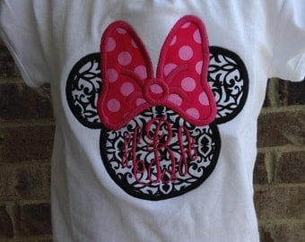 Minnie mouse appliqued shirt sizes 0-5t