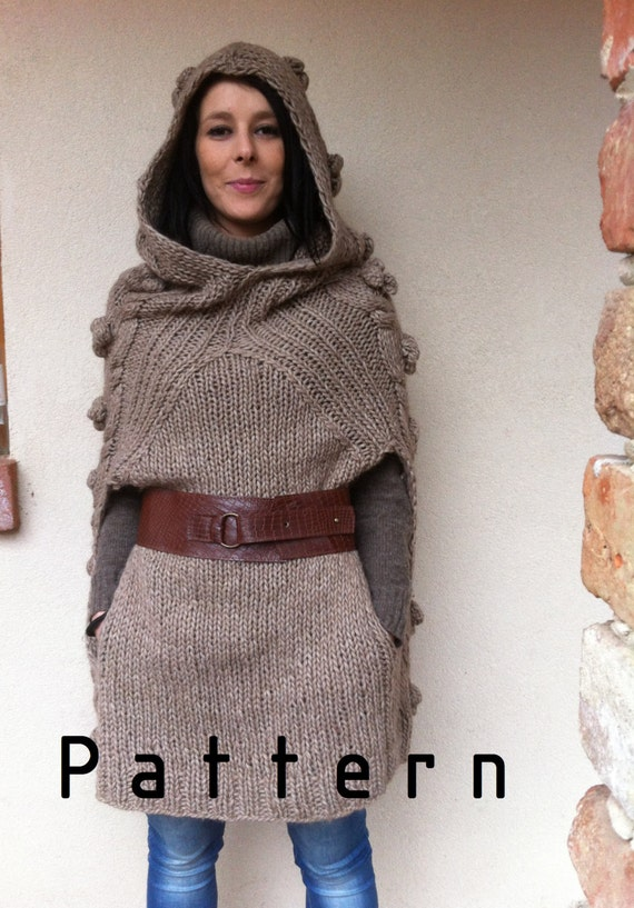 Funny Knitting Patterns : Classic and funny poncho knitting pattern supply woman