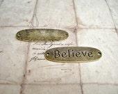"6 Antique Bronze Oval Connector ""Believe"" Bracelet bar"