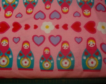 Hot Pink Russian Dolls on Pink Flannel bty