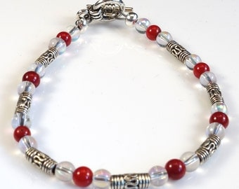 Women's Dainty Cherry Red and Clear Beaded Bracelet