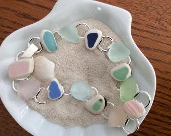Pretty Pastel Sea Glass and Sea Glass Pottery Bracelet- size 8