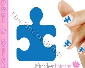 Light It Up Blue Autism Awareness Puzzle Piece Nail Art Decal Sticker Set LIT102