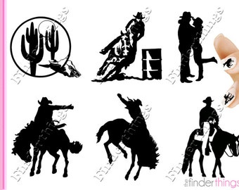 Cowboy Western Equestrian Horse Rodeo Variety Nail Art Decal Sticker Set COW901