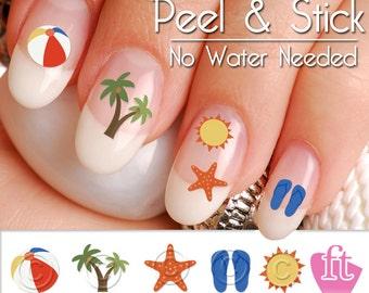 Summer Beach and Palm Tree Nail Art Decal Sticker Set SUM902
