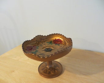 Goofus Glass Fluted Compote Dish with Rose Design FREE SHIPPING