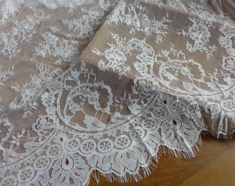 Wedding Dress Fabric, Cotton Both Sides Scallop Fabric, Cream Floral Eyelash Lace Fabric
