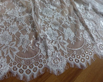 white chantilly lace, bridal lace fabric, eyelash lace scalloped trim, beautiful floral trim fabric