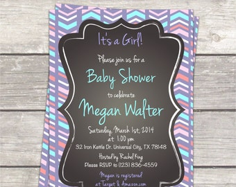 Girl baby shower invitation, aztec violet teal ice, chalkboard, printable digital invitation files