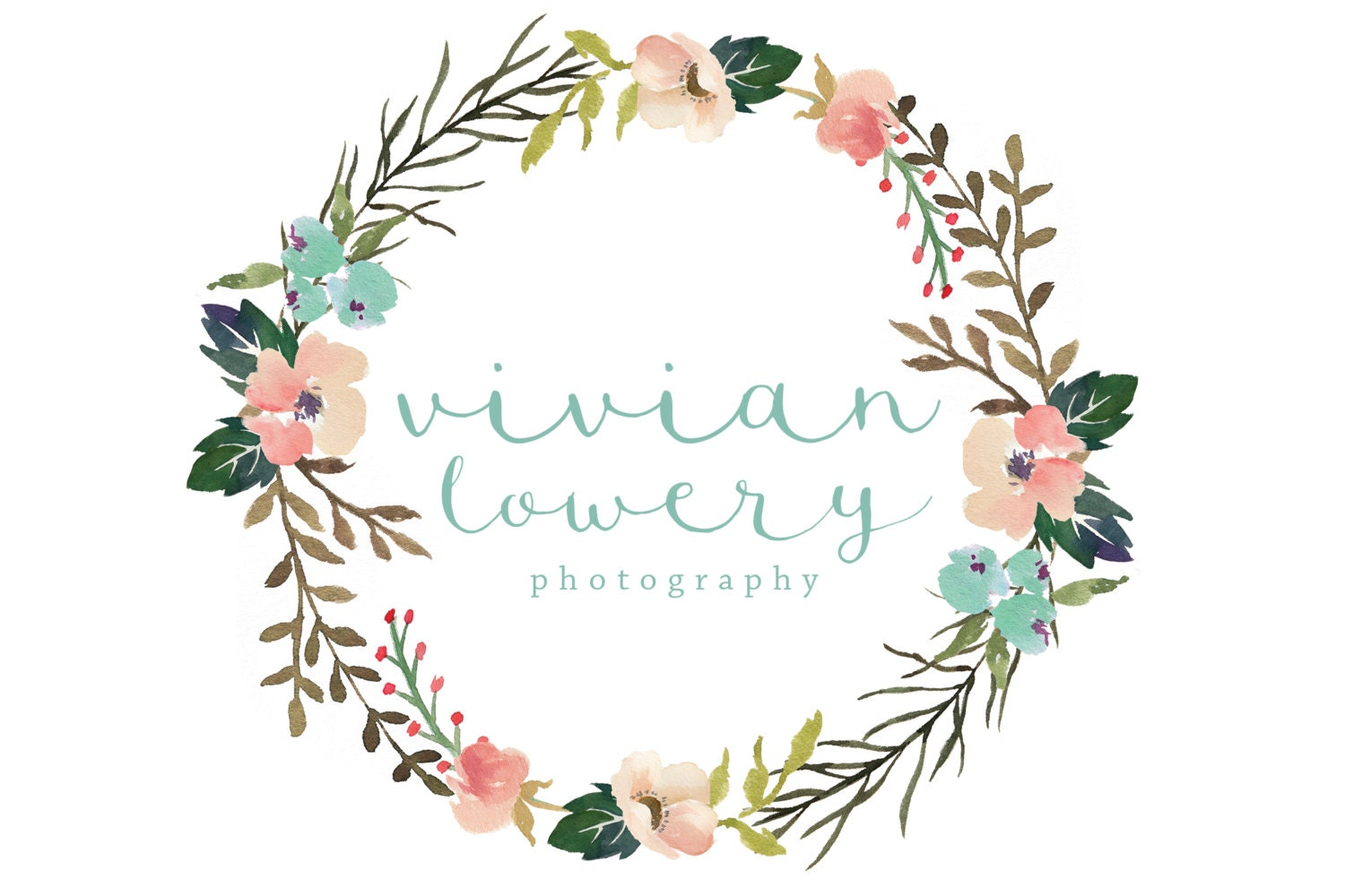 Premade logo calligraphy and watercolor flower by