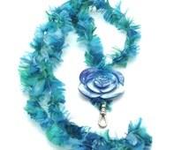 Fields of Blue,Name Badge Holder, ID Holder,Shell,Flower,Blue,Yarn,Crochet,Feathers,Teacher Gift, Nurse Gift,Fun, Kids Would Love, Gift Idea