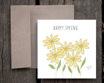 Thinking of you, Just Because Card, Happy Spring Card, Easter, Yellow Daises