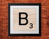 Printable Scrabble Letter B, Scrabble Wall Art, Instant Download, Printable Art, Printable Print, Alphabet Wall Words, Personalize Word Art