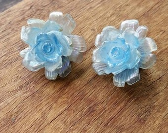 Pretty translucent blue floral retro clip on earrings