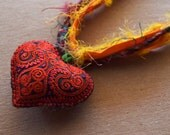 Sweet Heart, Sari Silk Necklace with Red Embroidered Heart, Boho Jewelry, Bohemian Heart