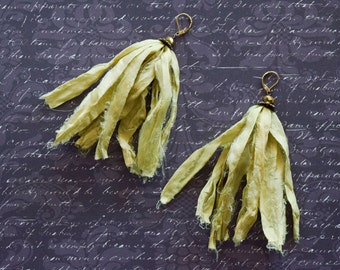 Chartreuse Boho Sari Silk Earrings with Gold Mirrored Glass Beads