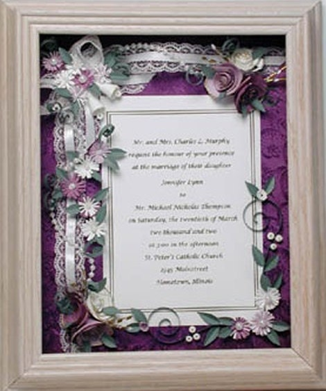 Framed Wedding Invitation Framed Wedding Gift Purple Wedding