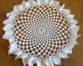 "12"" White With Multi-Color Ruffle Edge Doily"