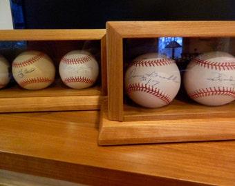 Custom Made Wood Baseball Display Case 6 Baseball Case