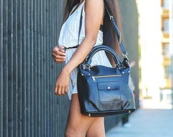 Black Leather Bag Leather Handbag Leather Purse Leather Bucket Bag Large Tote Leather Hobo Purse IPad Bag Shoulder Bag Cross Body Bag